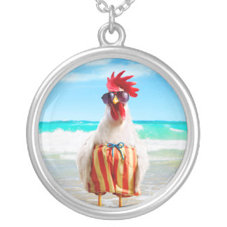 Rooster Dude Chillin' at Beach in Swim Trunks Silver Plated Necklace