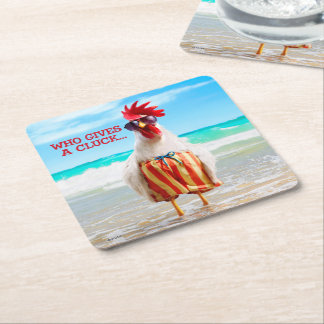 Rooster Dude Chillin' at Beach in Swim Trunks Square Paper Coaster