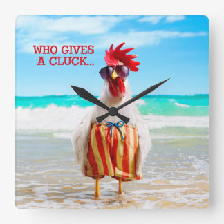 Rooster Dude Chillin' at Beach in Swim Trunks Square Wall Clock