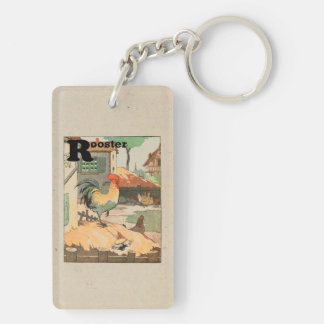 Rooster Farm Yard Double-Sided Rectangular Acrylic Key Ring