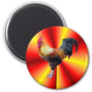 Rooster flash 6 cm round magnet