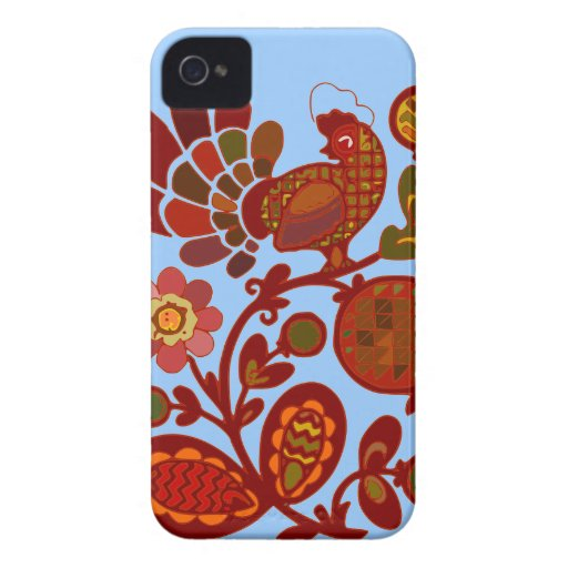 Rooster Floral iPhone 4 Cases