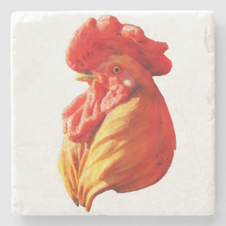 Rooster Head Stone Beverage Coaster