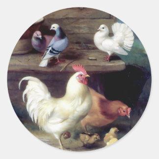 Rooster Hen Chicken Doves Round Sticker