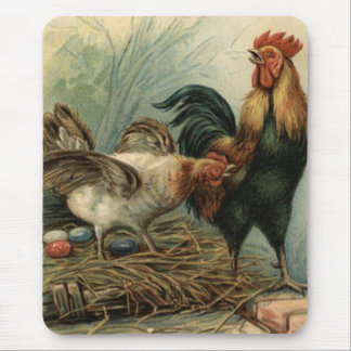 Rooster Hen Easter Colored Painted Egg Nest Mousepad