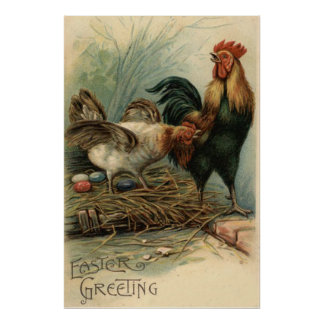 Rooster Hen Easter Colored Painted Egg Nest Poster