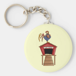 Rooster Hen House Key Ring