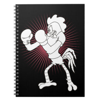 Rooster in gloves notebooks