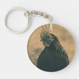 Rooster in Sepia Key Ring