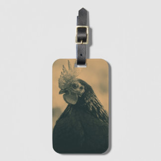 Rooster in Sepia Luggage Tag