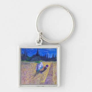 Rooster In The Field Silver-Colored Square Key Ring