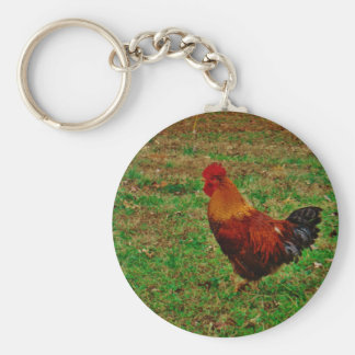 Rooster in the Yard Key Chains