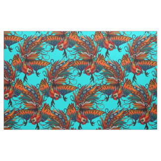 rooster ink turquoise fabric