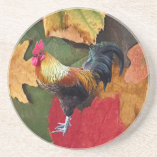 Rooster Leaves coaster