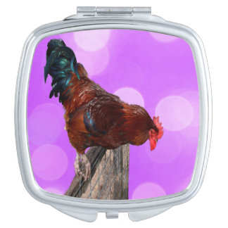 Rooster_Looking_Down,_Ladies_Square_Compact_Mirror Travel Mirrors