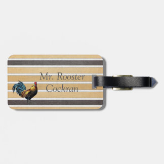 Rooster Luggage Tag with Leather Strap