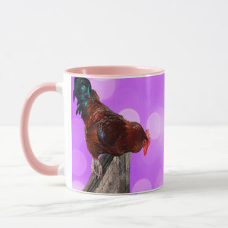 Rooster Nosy Parker, Pink Ringer Combo Coffee Mug