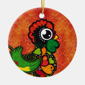 Rooster of Barcelos - Vintage Background Christmas Ornament