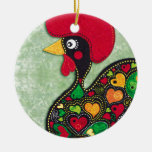 Rooster of Portugal Round Ceramic Decoration