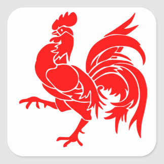 Rooster of Wallonia Square Sticker