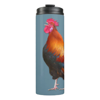 Rooster on Blue Farmers Name Template Thermal Tumbler