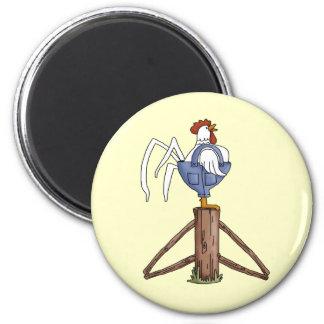 Rooster On Fence Post Fridge Magnet