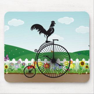 Rooster on Vintage Bike Mouse Mat