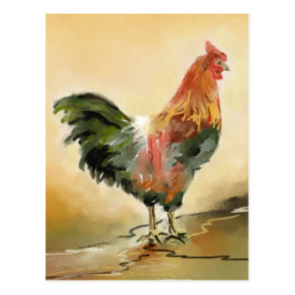 Rooster painting postcard