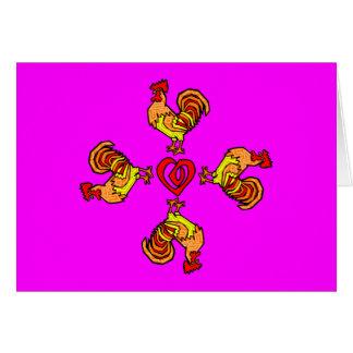 Rooster Pinwheel Greeting Card