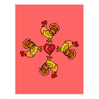 Rooster Pinwheel Postcard