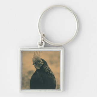 Rooster Portrait in Sepia Key Ring