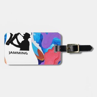 Rooster Saxophone Jamming Luggage Tag