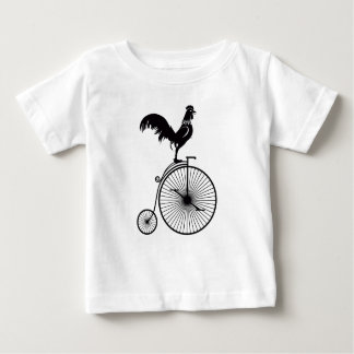 Rooster Sitting on Vintage Bicycle Baby T-Shirt