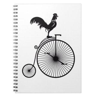 Rooster Sitting on Vintage Bicycle Notebook