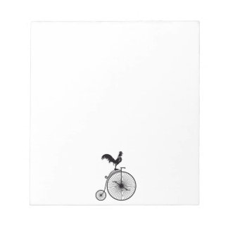 Rooster Sitting on Vintage Bicycle Notepads