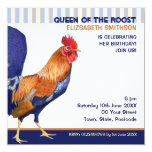 Rooster stripes Birthday Party Invitation