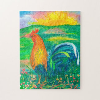 Rooster Sunrise Landscape Painting Puzzle