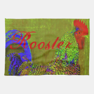 Rooster towels set of 3. Cobalt blue, red, green