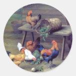 Rooster Turnip Basket Hens Round Sticker