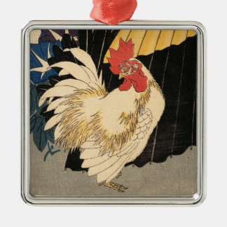 """Rooster, Umbrella, and Morning Glories"" Ornament"