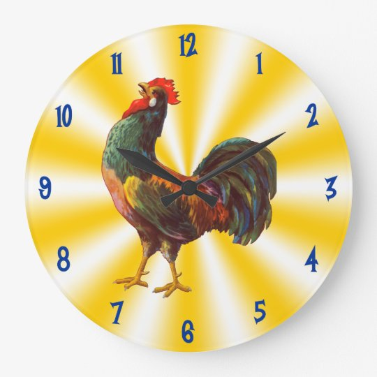 Rooster Vintage Art on Yellow White Kitchen Clock