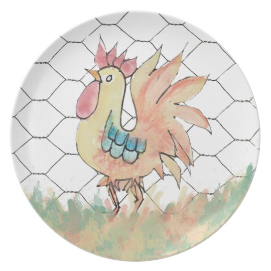 Rooster Watercolor Melamine Plate