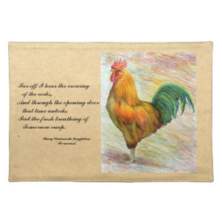 Rooster with Longfellow Quote Placemat