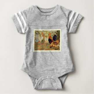 Roosters and hens baby bodysuit