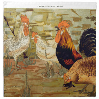 Roosters and hens napkin