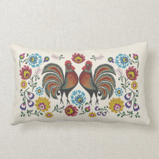 Roosters and Roses Lumbar Cushion