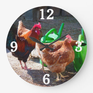 Roosters and Watering Cans Wall Clock
