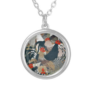 Roosters by Ito Jakuchu Round Pendant Necklace