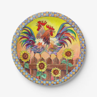 ROOSTERS by SHARON SHARPE Paper Plate