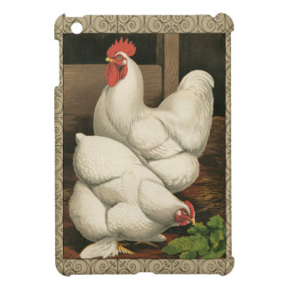 Roosters & Hen outside Hen House with White Border iPad Mini Case